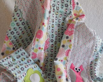 Owl Flannel Rag Quilt and Burp Cloth Set