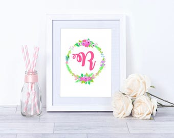 Girl's initial print, floral wreath monogram print, personalised new baby gift, nursery wall art, girl's bedroom decor, floral wall decor