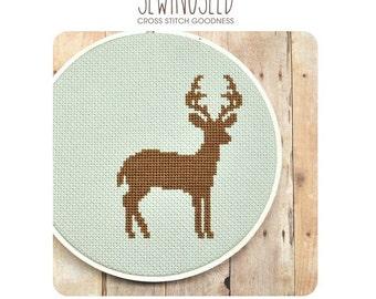 Cross Stitch Pattern, Deer Cross Stitch Pattern, Instant Download Cross Stitch Pattern, Tutorial, DIY