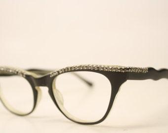 Rhinestone Cat Eye glasses vintage Eyewear Retro Glasses Catseye glasses vintage frames unique sunglasses
