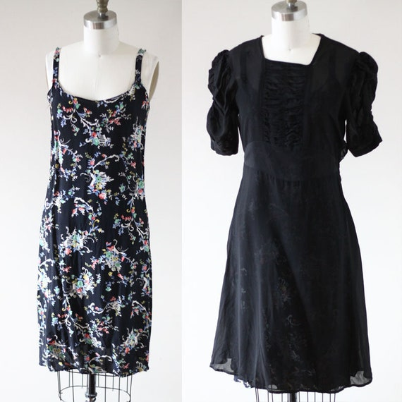 1930s sheer black crepe dress //  1930s floral slip // vintage day dress