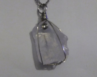 Clear quartz chunk silver necklace