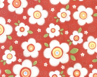 By The HALF YARD - Crazy for Daisies by ADORNit, Pattern #T-00460 Daisy Darling Cherry, Creamy White Multisize Daisies, Green Leaves on Red