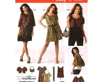 Scoop Neck Dress Pattern Top Jacket Shrug Simplicity 3533 Belt & Bag Womens Sewing Pattern Size 6 to 14 UNCUT