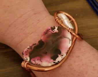 Pink geode and stick pearl copper cuff bracelet