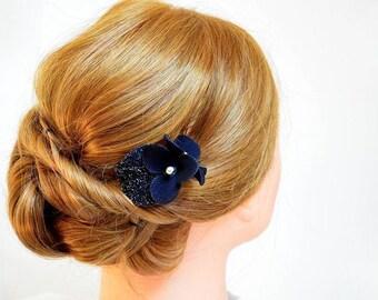 Black hair clip Bridesmaids Navy blue hair clip Bridal headpiece Black fascinator Pink hair clip Hair flower Wedding hair flower