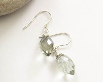Green Amethyst Earrings - February Birthstone - Green Earrings - Bridal Earrings - Minimalist  Earrings - Mothers Day Gift -