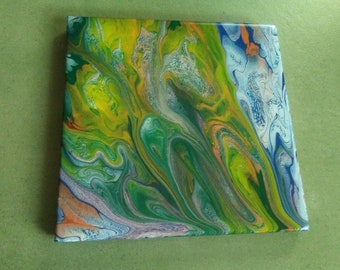 """8""""×8"""" Poured acrylics on ceramic tile"""