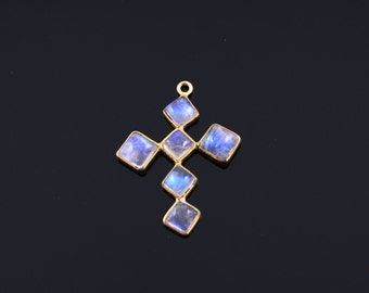 Natural Rainbow Moonstone Pendant in  Gold Vermeil,  Incredible Blue Fire to Illminate Your Style., 1 Piece (RNB-CR-100)