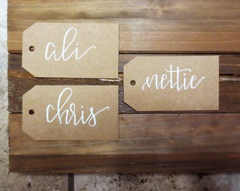 Handwritten calligraphy personalized name tags, gift tags, place cards