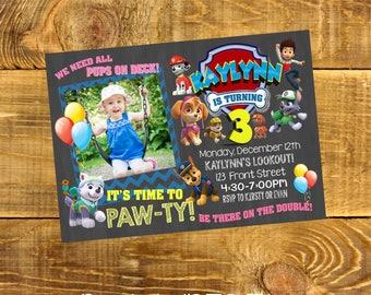 Paw Patrol Invite - Custom - Color - Printable - Birthday - Pink - Blue - Yellow - Digital Invitation - Party