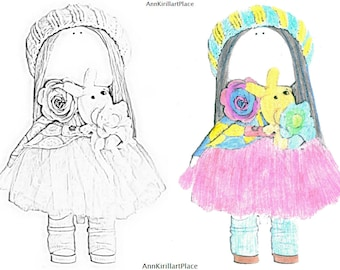 Original coloring Watercolor coloring Doll coloring Tilda Printable coloring Magical coloring Beauty colouring Dress coloring Coloring page
