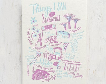 Things I Saw in Singapore Letterpress Postcard