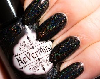 Black Linear Holo Nail Polish - Holographic Nail Lacquer - Full Size Bottle / Hamartophilia