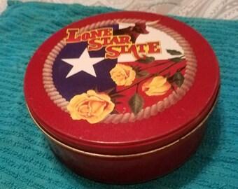 Lone Star State Texas Tin with Yellow Rose Tin