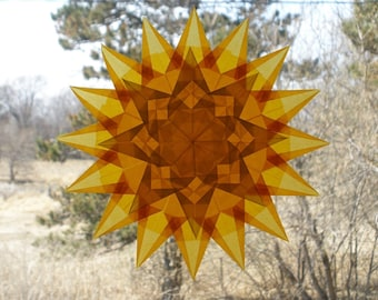 16 Point Gold Window Star with 8 Sided Yellow Star Suncatcher