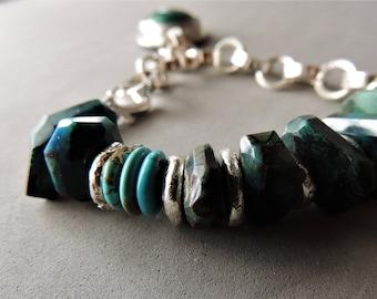 Heavy Sterling Silver Bracelet, Chrysocolla Bracelet, Silver Bezel and Gemstone, Artisan Jewelry, Rustic Handcrafted, Handmade Silver Chain