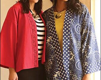 Zeitgenössische Kimono-Digital-Schnittmuster PDF - Gebänderte Kimono Stil Jacke in zwei Längen