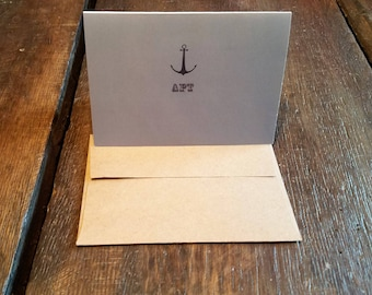 Personalized Note Cards, Anchor Monogram Note Cards, Personalized Thank You Cards, Personalized stationary set Monogrammed Stationery, RD087