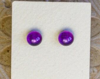 Dichroic Glass Earrings, Petite Purple  DGE-1406