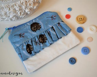 Blue Floral and Hedgehog Printed Frilly Ruffle Coin Purse