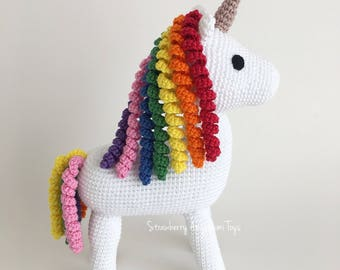 Crochet Rainbow Unicorn Stuffed Toy