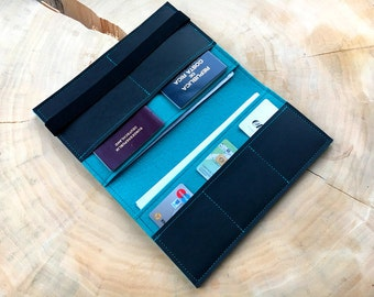 Travel organizer from wool felt and vegan leather for Passport