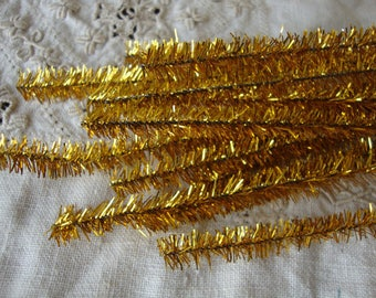 gold tinsel stems wired trims 15 pieces 12in kids craft supplies vintage christmas crafts supplies pipe cleaners