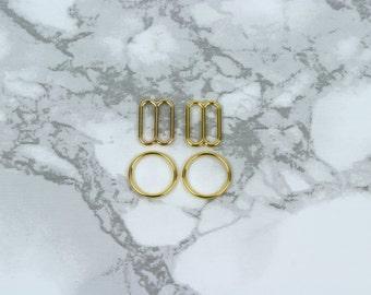 "3 Sets 3/8"" Gold Metal Rings and Sliders Premium Jewelry Quality Bra Adjusters 10mm Bra Making Bramaking"
