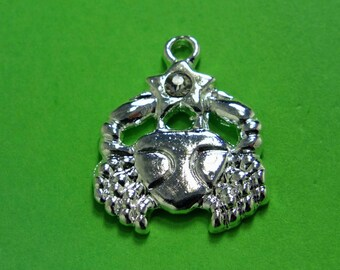 1 METAL silver charm of the zodiac sign: cancer 17mm