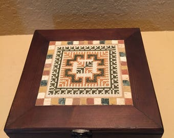 Handmade cross stitch top wooden box