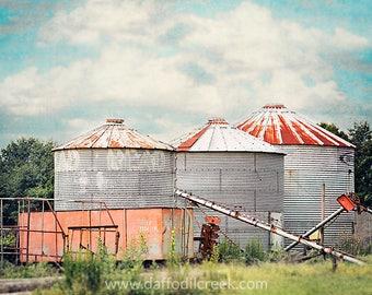 Fixer Upper Wall Decor, Farmhouse Wall Art, Rustic Farm Decor, Grain Silo Photo, Farm Photography, Three Silos Print, Farm Art Print