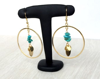 Turquoise and Disc Boho Hoops Dangling Earrings - Large Turquoise Hoops - Bohemian gypsy Earrings