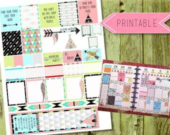 Tribal Girlfriend Quote Weekly Printable Stickers for Erin Condren Life Planner/Happy Planner INSTANT DOWNLOAD