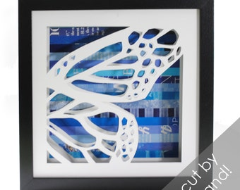 butterfly wings- right side- shadowbox made from recycled magazines, nature, mystical, butterfly, spring