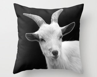 Goat, Pillow Cover, Fine Art Photography,16x16,18x18,20x20,home decoration,rustic,farm,black,white,Animal,country living, kids decor