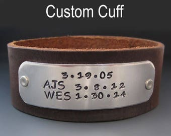 Personalized Men's Leather Cuff Bracelet / Hand Stamped Custom Father's Day Gift / Custom Men's Leather Bracelet / Anniversary Gifts for Him