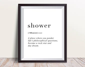Shower Definition Print, Wall Art Prints, Quote Print, Wall Decor, Minimalist Poster, Minimalist Print, Modern Art, Shower Print, Definition