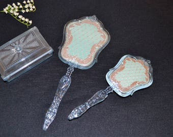 Vintage Vanity Set Powder Blue with Silver