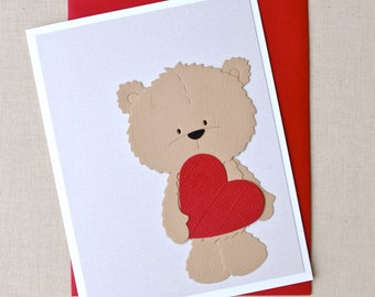 I love you beary much.  Teddy bear valentines day card.  Red heart, bear, stuffed toy, stitching, heart day, sweetheart