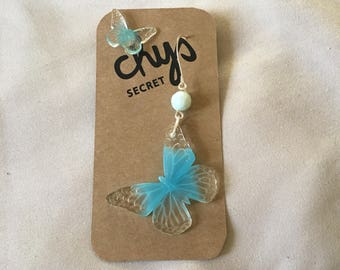 butterfly earrings blue and clear irregular earrings stud earring dangle earring handmade jewelry mini