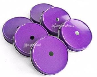 Mason Jars Straws Lids, Purple Color Daisy Lids--(6) Wedding Daisy Lids, Daisy Cut  Purple Mason Jar Lids, Mason Jar Lids