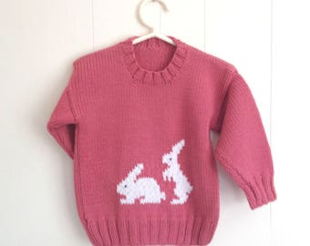 Girls bunny sweater - 4 years - Girls pink sweater with bunnies - Kids knitwear - Girls knit clothing
