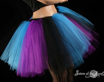Brused Monster tutu extra puffy Black Purple turquoise dance costume roller durby --You Choose Size -- Sisters of the Moon