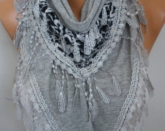 Gray Knitted Scarf Shawl Cowl Lace Bridesmaid Bridal Accessories Gift Ideas For Her Women Fashion Accessories Best selling item scarf