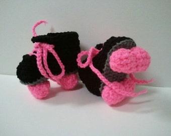 Roller Derby Booties, Roller Skates, Roller Skate Booties, Black and Pink