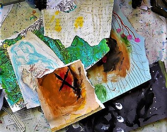 Art journaling e-course, altered papers, ephemera, mixed media art, self study course