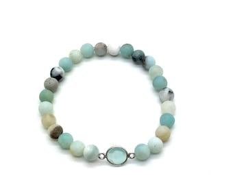 Stretch Bracelet,Stackable Bracelet,Trends,Amozonite,Boho Style,Beaded Bracelet,Crystal Bracelet,Beach Tones,Everyday Wear,Gift for Her,