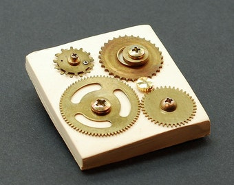 Steampunk Jewelry Pin- Brass Clock Gears on Ivory Upcycled Brooch, Steampunk Brooch, Hardware Jewelry, Industrial Jewelry by Tanith Rohe