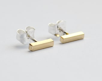 Gold Bar Stud Earrings - Minimalist Cartilage And Second Hole Studs - Modern Small Square Line Ear Bars - Hook and Matter